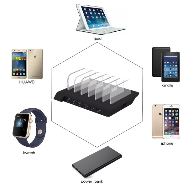 Wisam® Multi Ladestation 6 Fach - Black für  iPhone...