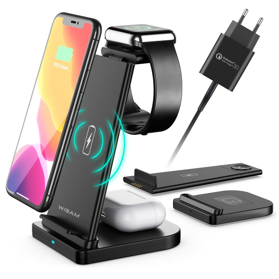 Wisam® 3 in 1 Multifunktion 15W QI Ladestation für Airpods Pro Apple Watch iPhone 12