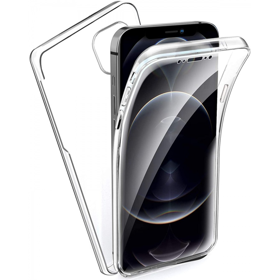 iPhone 12 Pro Max Full Cover Silikon 6.7 Transparent Schutzhülle TPU 360° Hülle