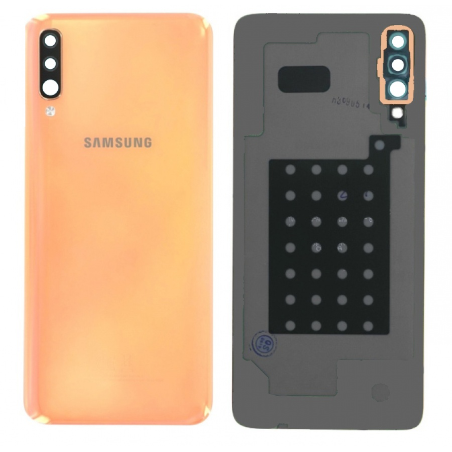 Original Samsung Galaxy A70 A705 Akkudeckel Backcover Coral Orange Akzeptabel