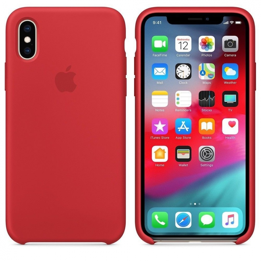 Original Apple iPhone XS Silikon Case MRWC2ZM/A Hülle Schutzhülle Rot Red Neu OVP