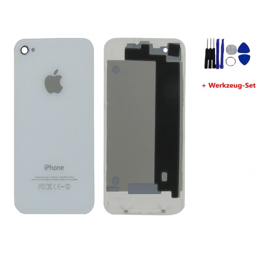 Apple iPhone 4 Akkudeckel Weiß Backcover White Kamera + Werkzeug Tools