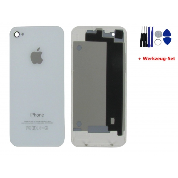 Apple iPhone 4 Akkudeckel Weiß Backcover White Kamera +...