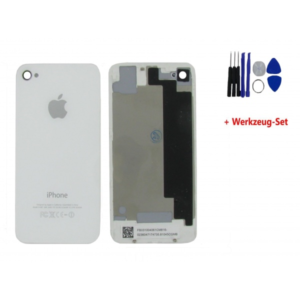 Apple iPhone 4S Akkudeckel Weiß Backcover White Kamera +...