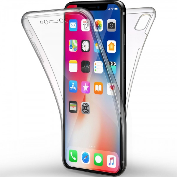 iPhone XR Full Cover Silikon 6.1 Transparent Schutzhülle...