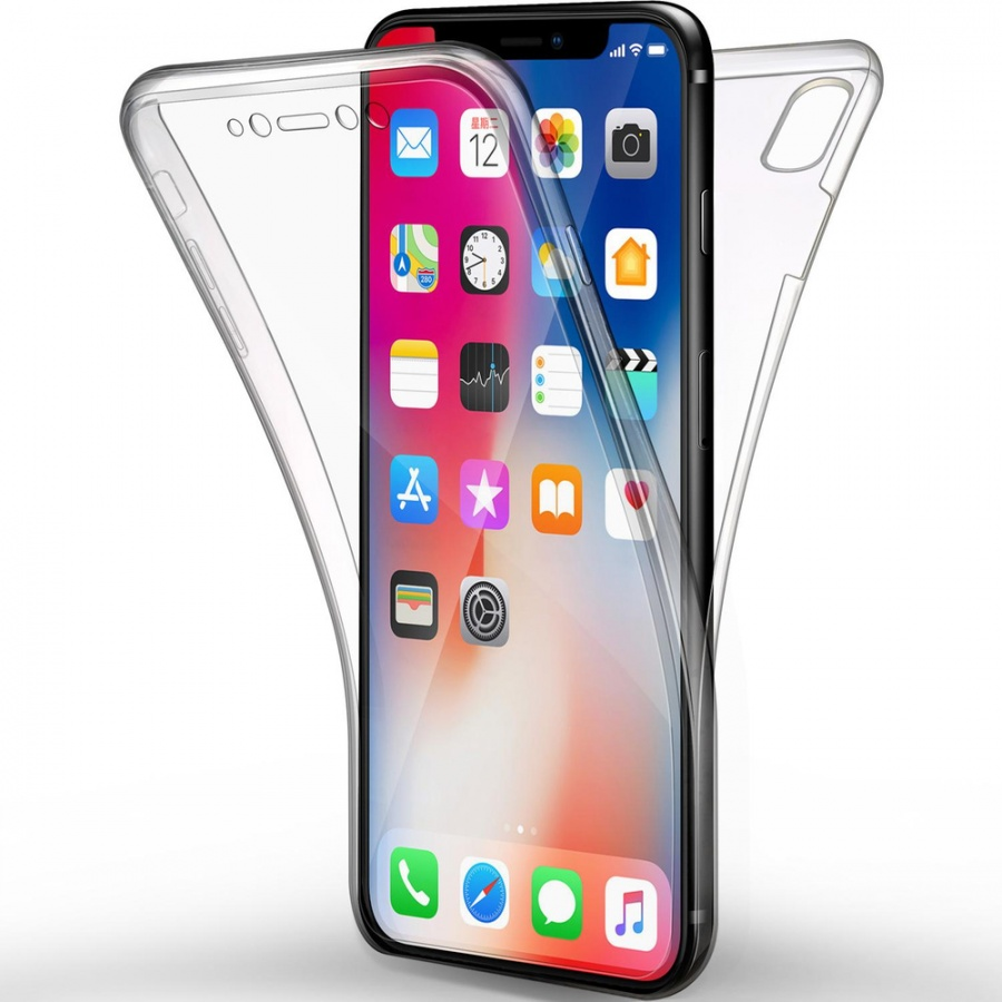 iPhone XS Max Full Cover Silikon 6.5 Transparent Schutzhülle TPU 360° Hülle