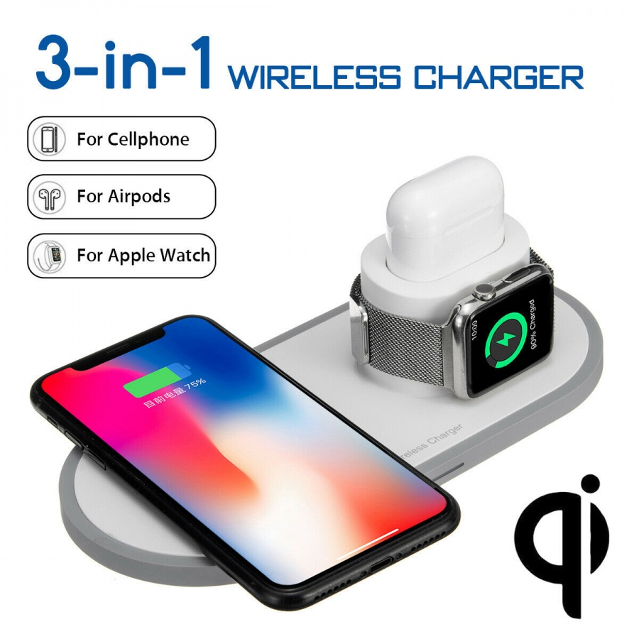 2Pace® 3 in 1 QI Charger 10W Ladegerät Ladestation für Apple Watch iPhone 12 12 Pro XS X 8 Airpod