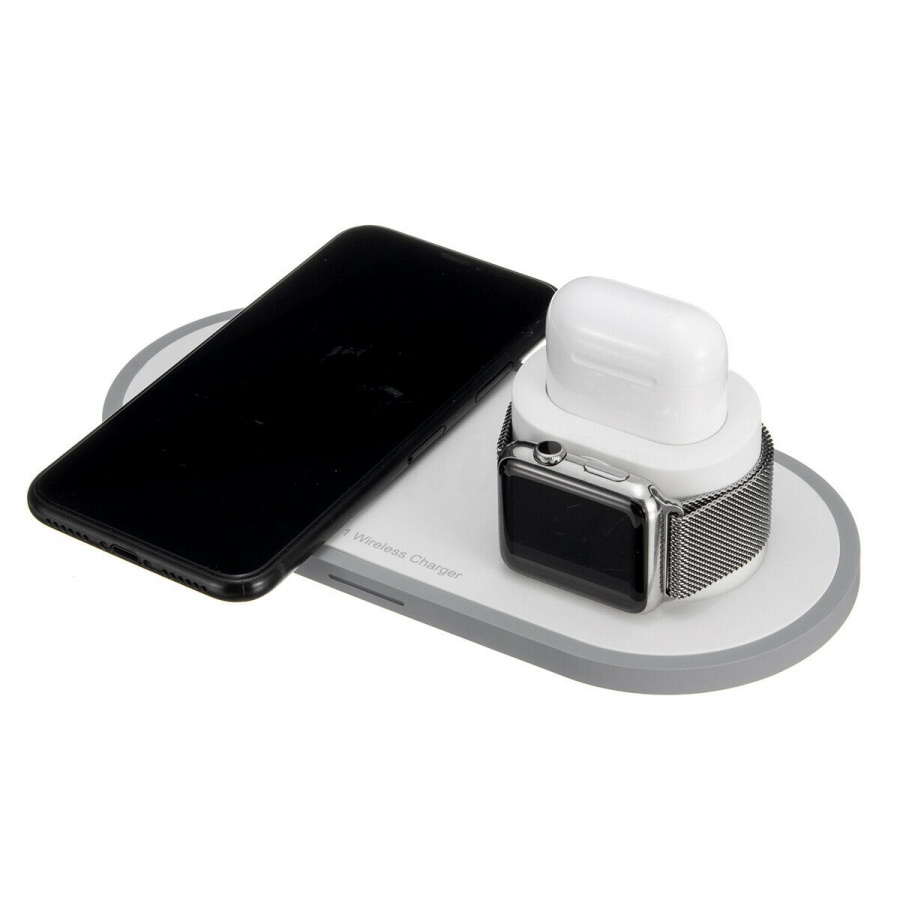 2Pace® 3 in 1 QI Charger 10W Ladegerät Ladestation für Apple Watch iPhone XS X 8 Airpod
