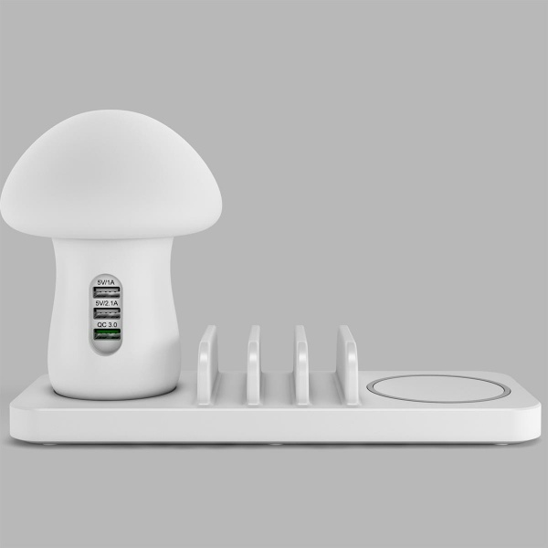 Wisam® 4 in 1 QI 10W Wireless Ladestation + LED Lampe...