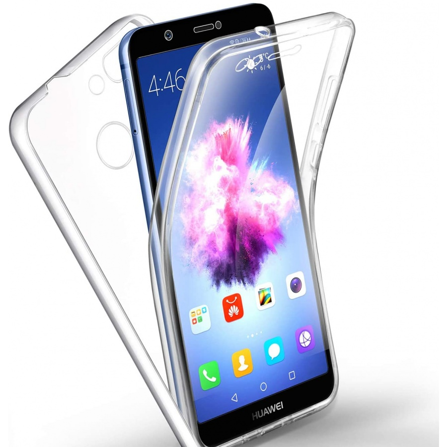 Huawei P-Smart / Enjoy 7S Full Cover Silikon TPU 360° Transparent Cover Hülle