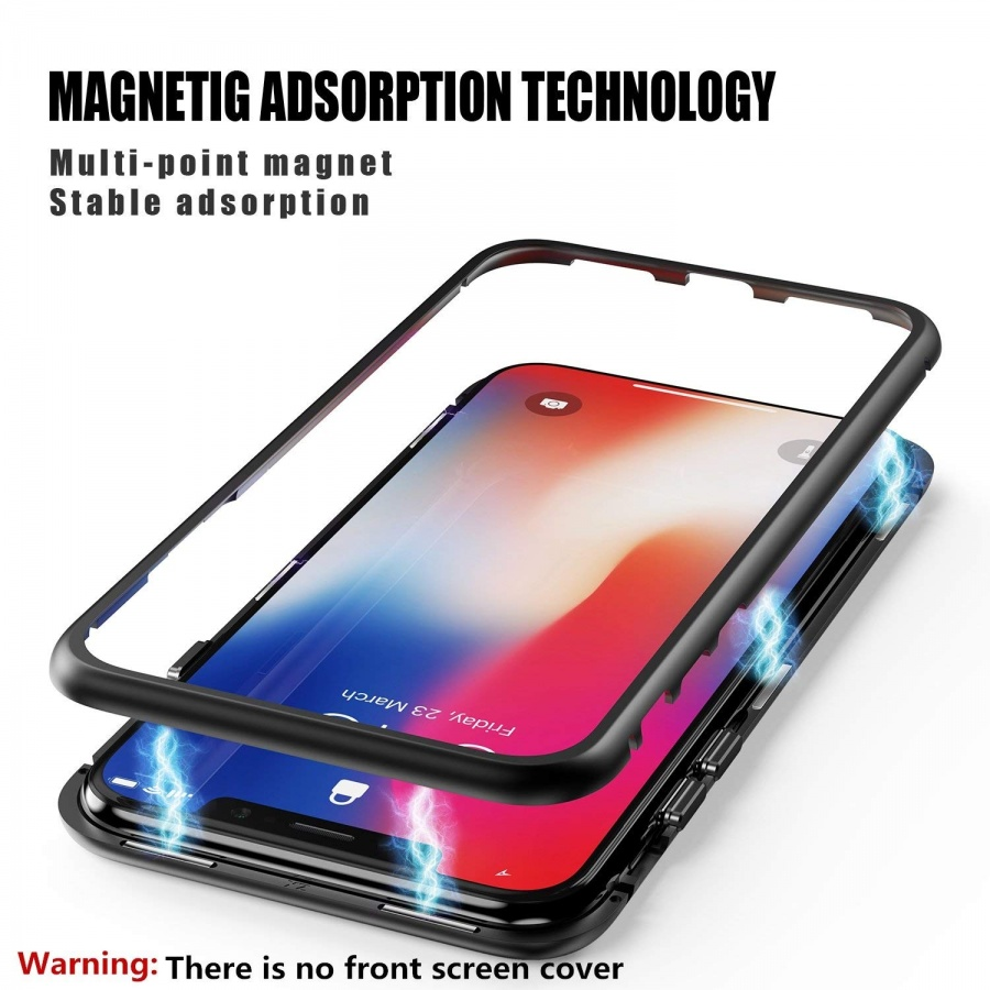 Magnet Schutzhülle Hülle Glas Handy Tasche Case Metall Cover Huawei iPhone Samsung Huawei Honor 10