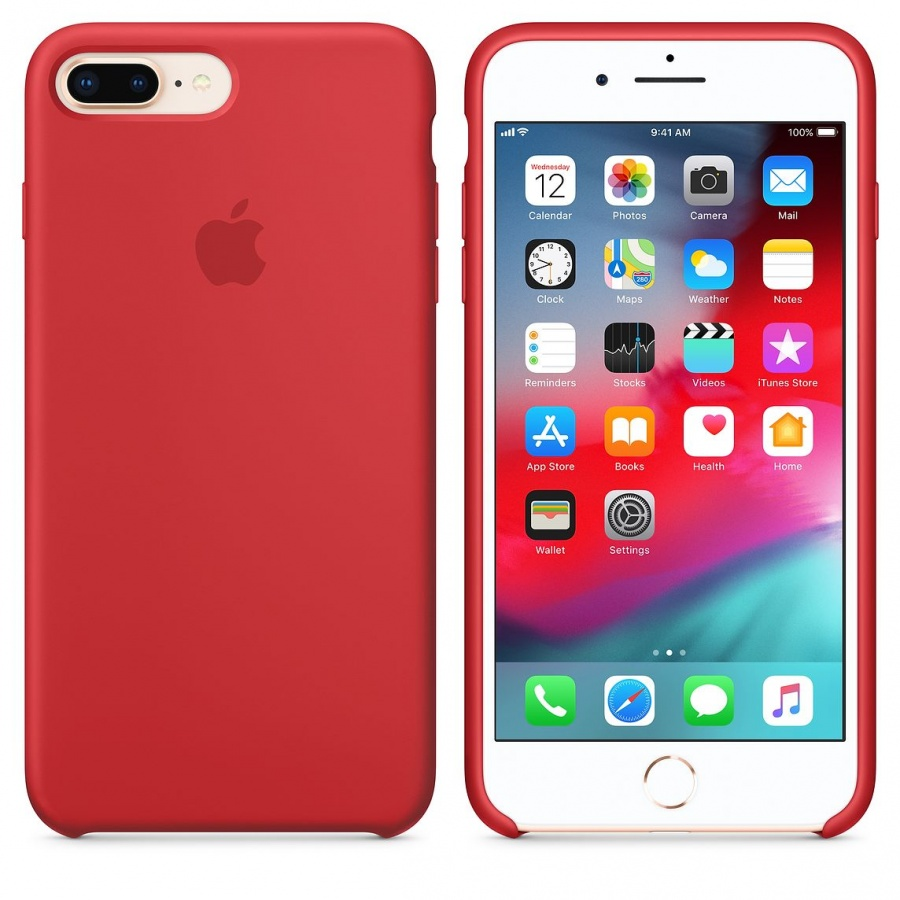 Original Apple iPhone 7 Plus 8 Plus Silikon Case MQH12ZM/A Hülle Schutzhülle Red