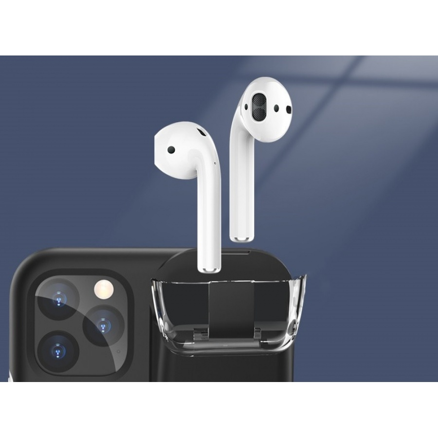 2in1 iPhone 11 Pro Airpods Cover Ladefunktion Schutzhülle Hülle Black & White Schwarz by Wisam®